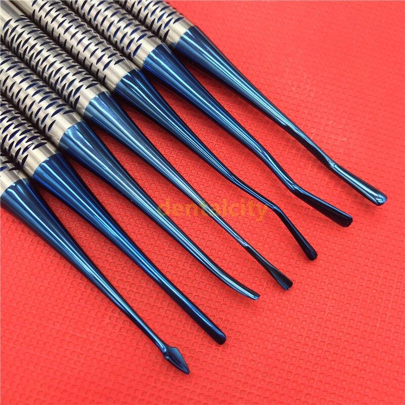 Ascenseur de racine de luxation d'acier inoxydable d'implant dentaire de 7 pièces avec des outils orthodontiques d'instruments de cas