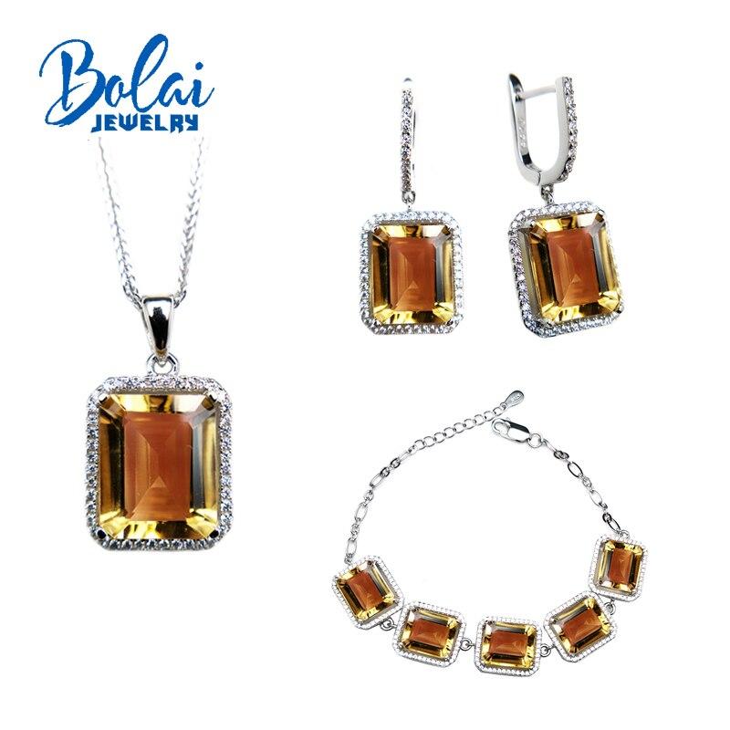 Bolaibijoux, couleur foncée naturelle citrine pierre précieuse simplement mis 925 bijoux en argent sterling beaux cadeau de fiançailles pour femme dame