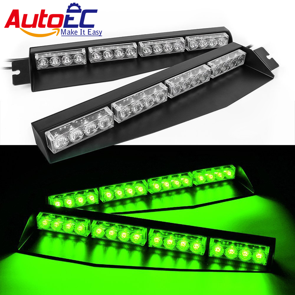 AutoEC 1x 32W Amber Yellow 32 LED Car Truck Work Light bar Strobe Warning Flash lights Visor Deck Dash Emergency Lamp #LX208