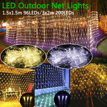 LED Net Mesh String Light Outdoor Waterproof AC110V Chirstmas Wedding Party Holiday Decor connectable with Tail Plug D20