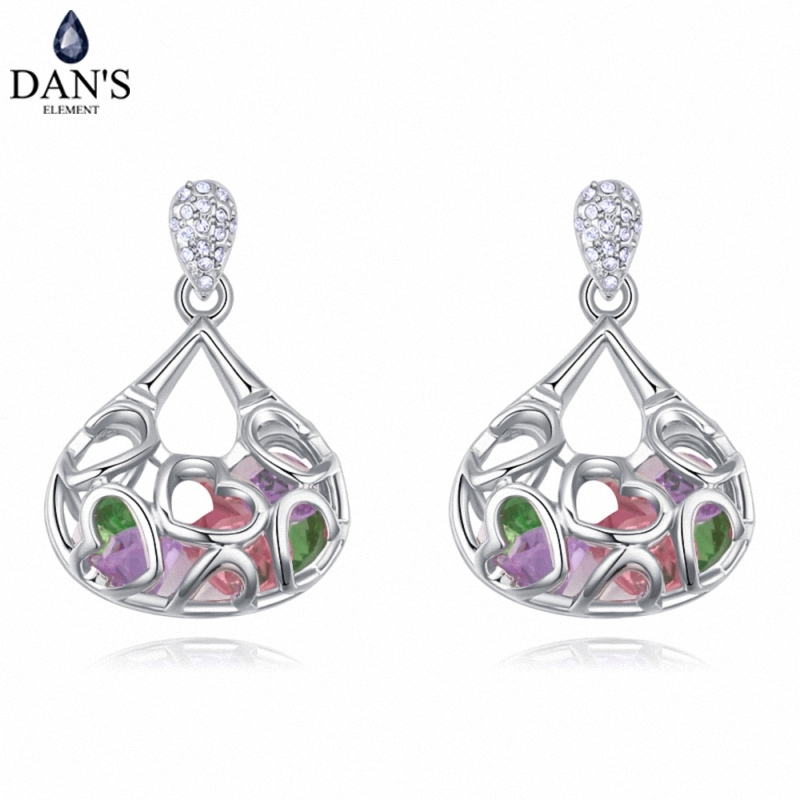 DANS 4 Colors Real Austrian crystals Stud earrings for women Earrings s New Sale Hot Round 128007