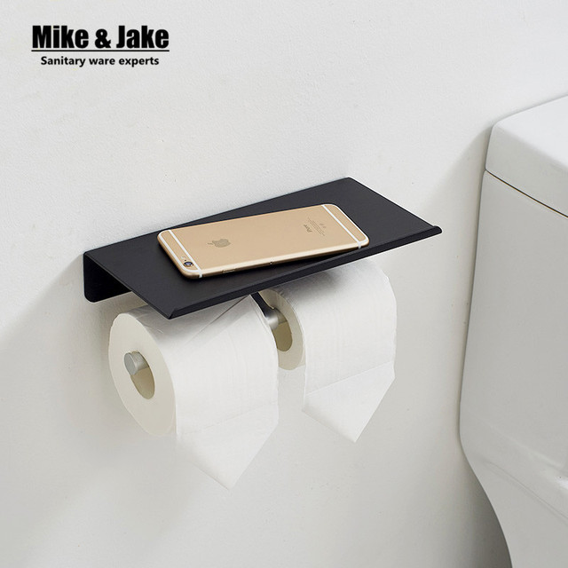 Bathroom Aluminum Black Double Paper Holder With Phone Plate Roll
