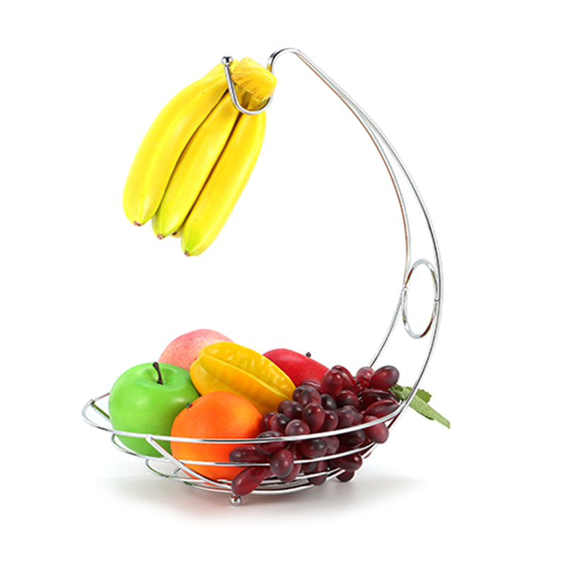 2 in 1 Banana Hanger Fruit Bowl Iron Holder Storage Basket Stand Hook Kitchen Storage XHC88