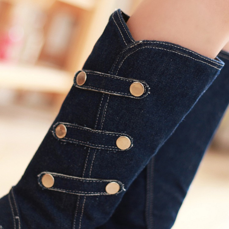 Women Boots high heels peep toe Boots tight High jeans boots fashion plus size Denim Boots Buckle Strap Metal decoration MAZIAO