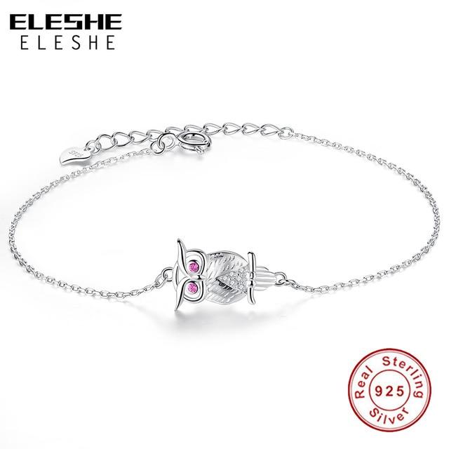 Eleshe 2017 Wedding Charm Bracelets For Women 925 Sterling Silver Chain Austrian Crystal Bracelet Animal Owl