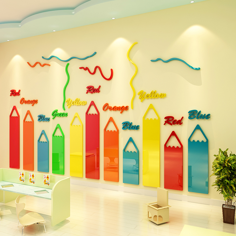 Adesivi Murali Bambini 3d.Us 50 0 Colored Pencils Cartoon 3d Acrylic Wall Stickers For Kids Rooms Chambre Fille Kindergarten Adesivi Murali Bambini Muursticker In Wall