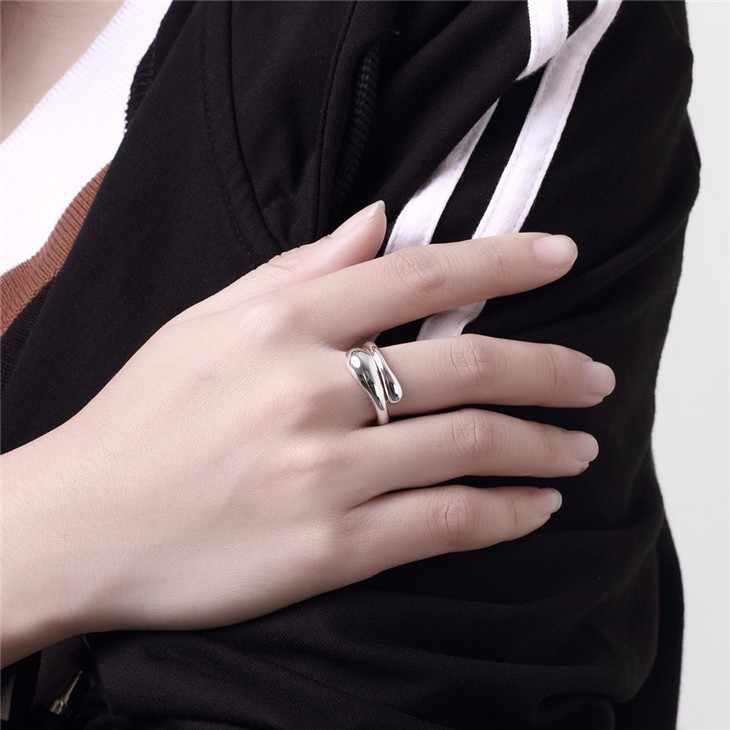 失うお金プロモーションサイズ変更可能なリング用女性シルバージュエリーファッションジュエリーダブル丸頭水ドロップ形状リング-自動的に開いた