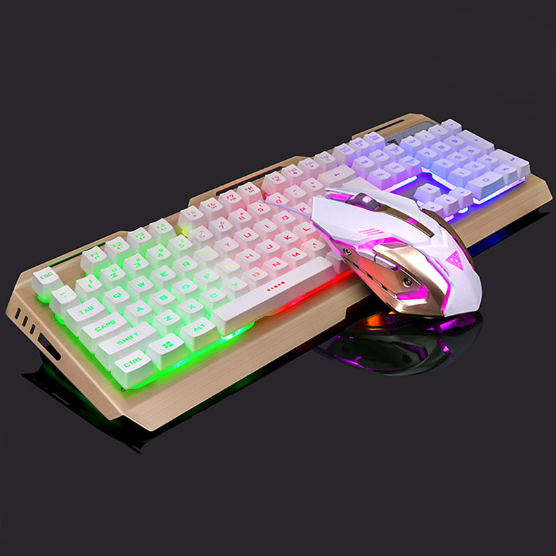mechanical gaming keyboard mouse set wired anti slip breathing light usb for computer qjy99 in. Black Bedroom Furniture Sets. Home Design Ideas