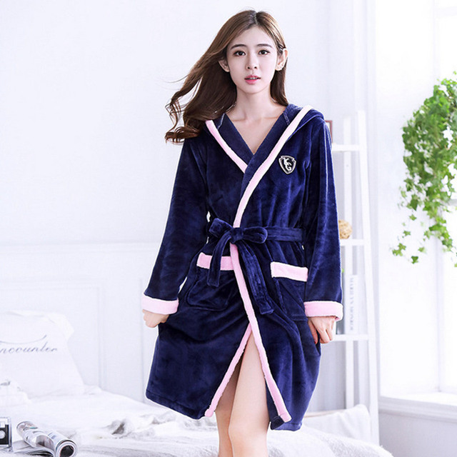 Winter Flannel Pajamas Casual Hooded Towel Robe Soft Warm Coral ...