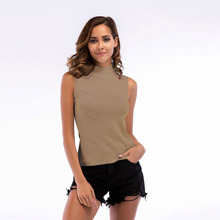 2019 New style Jersey Turtleneck soild color sleeveless shirt pullover sweater casual sexy slim tank rib vest