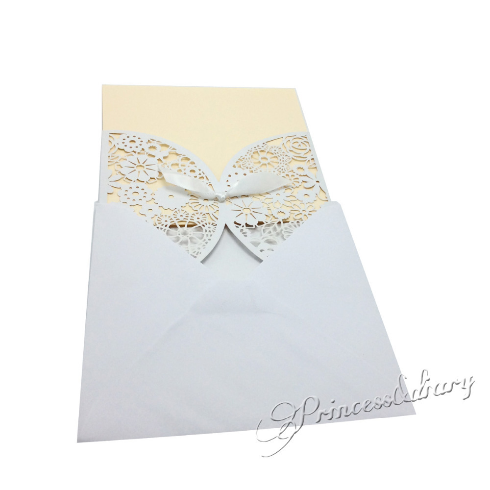 Aliexpress.com : Buy 20Pieces Bowknot Wedding Invitation Card Laser ...