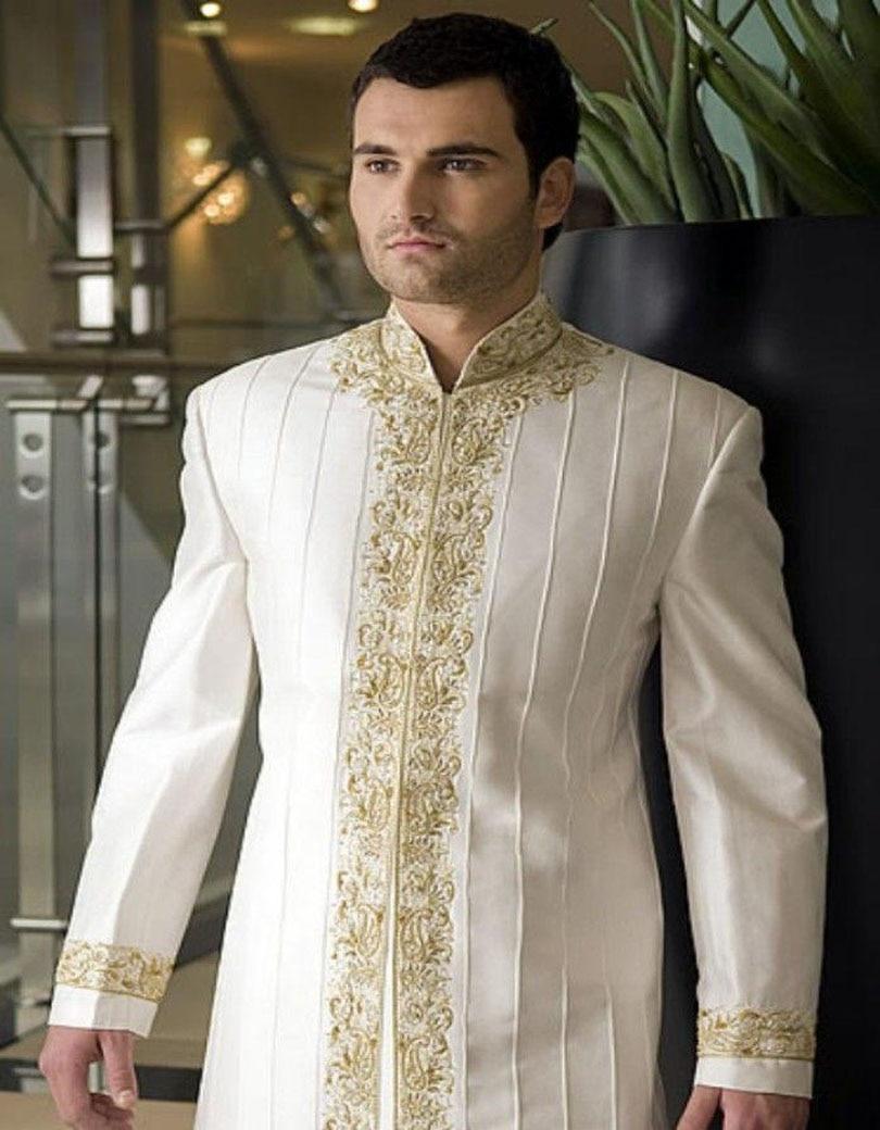 2017 новый дизайн красивый свадебный жених indowestern Шерван костюм индивидуальные смокинги для мужчин выпускного вечера лучший мужские костюмы