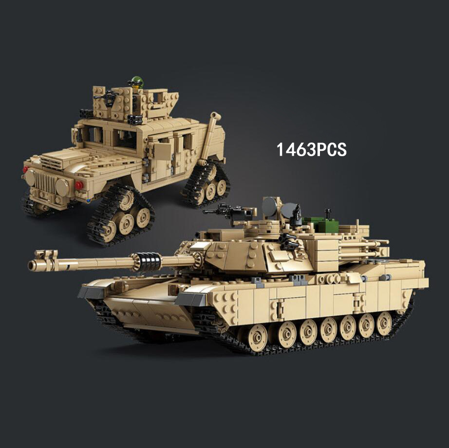 Hot modern military M1A2 Abrams Main Battle Tank building block crawler hummer jeep bricks ww2 army figures 2in1 model toys oenux newest 6pcs ww2 the battle of imphal military scenes model uk british army figures building block brick educational toys