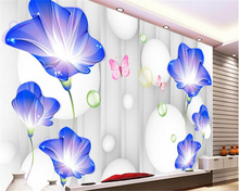 beibehang 2017 new Modern New Fashion Wallpaper Simple Blue Trumpet Beautiful Soft Bags Background Wall papel de parede tapety