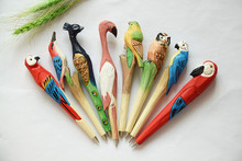 10pcs/lot Wooden craft  animals pen Classic wooden Hand-carved pens Creative stationery wood ballpoint
