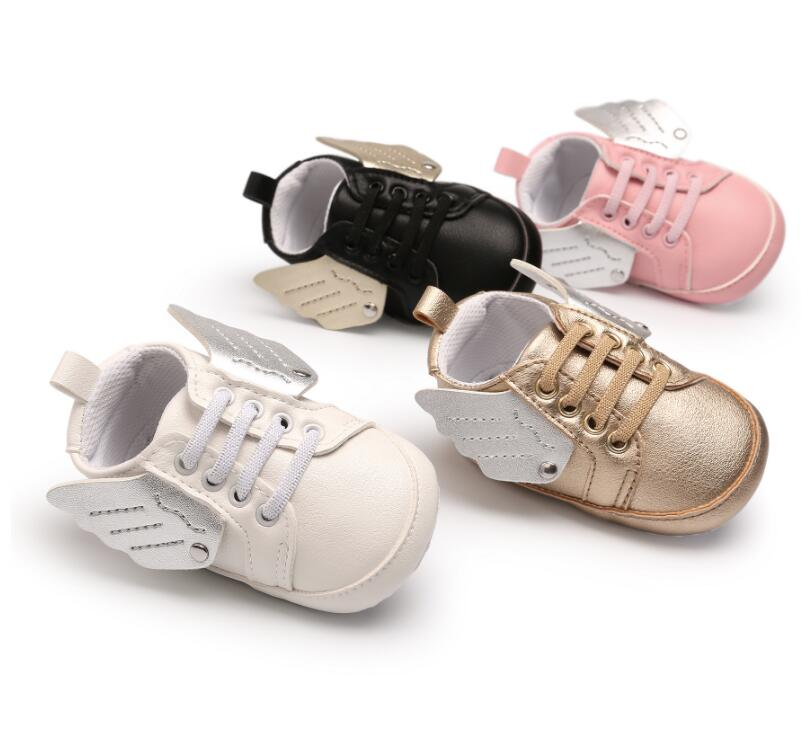 2018 New pu leather Angel wings design toddler baby moccasins soft sole first walker sneaker sport shoes for baby girls and boys