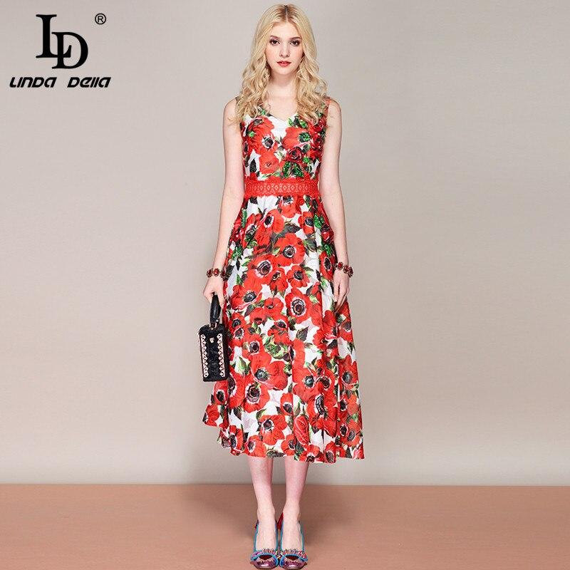 LD LINDA DELLA แฟชั่นฤดูร้อนของผู้หญิง V คอ Rose พิมพ์ดอกไม้ดอกไม้ Appliques ประดับด้วยลูกปัด Midi Party Elegant ชุด-ใน ชุดเดรส จาก เสื้อผ้าสตรี บน   1