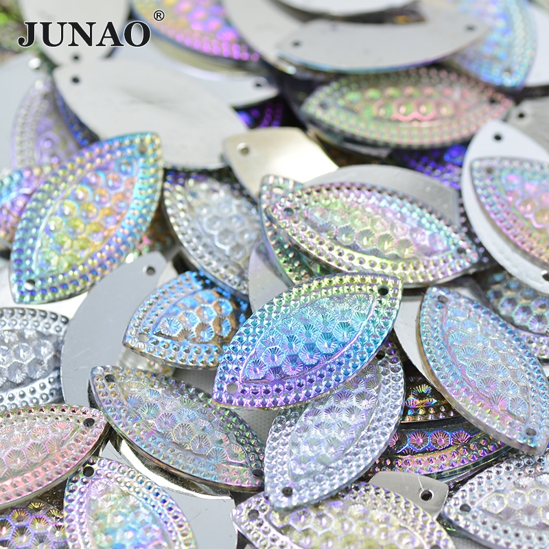 JUNAO 15*30mm Sewing Crystal AB Rhinestones Strass Applique Sew On Flatback Crystal Stones Horse Eye Resin Beads For Clothes