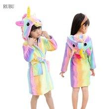 c4c666a9e486f Enfants peignoir Animal licorne Robe filles garçons peignoirs à capuche  serviette de plage vêtements de nuit