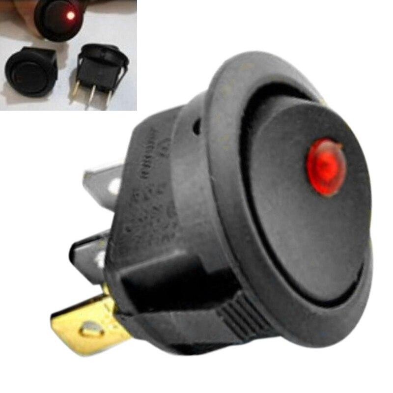 20pcs/set Car 12V Round Rocker Dot Boat Red LED Light Toggle Switch SPST ON/OFF