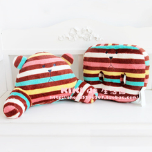 CRAFTHOLIC chocolate Striped colorful bear Lumbar waist pillow size 30*50cm plush doll pillow cushion cute love free shipping