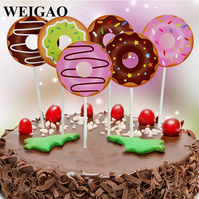 WEIGAO 6Pcs Cute Birthday Cake Toppers Donut Cupcake Baby Shower 1st First Party