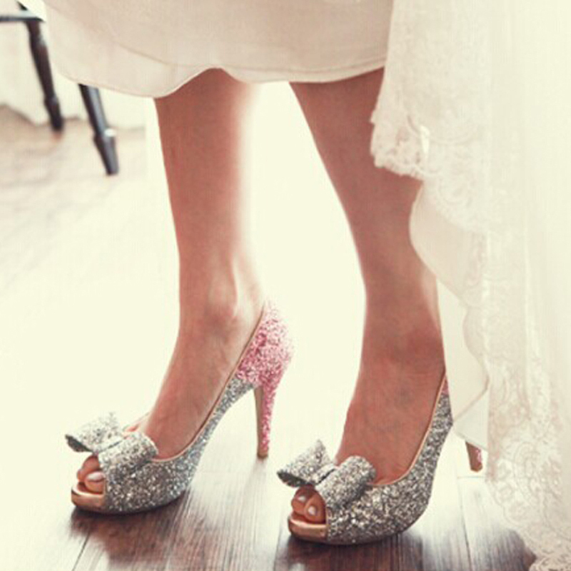 Glitter Silver Peep Toe Shoes Bridal Wedding Dress Shoes 4 Inches ...