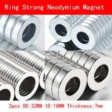 2PCS OD 32mm ID 18mm thickness 7mm neodymium ring magnet strong rare earth N35 NdFeB 32X18X7MM permanent