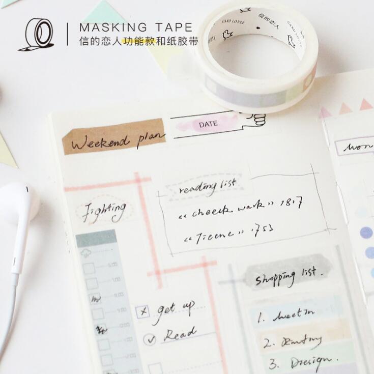 Light Color Daily Plan Washi Tape Adhesive Tape DIY Scrapbooking Sticker Label Masking Craft Tape light color daily plan washi tape adhesive tape diy scrapbooking sticker label masking craft tape