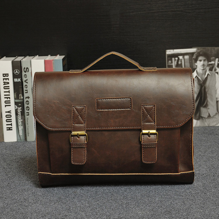 HTB1BGQTjgvD8KJjy0Flq6ygBFXao Crazy Horse PU Leather Men Briefcase Famous Brand Men's Messenger Bag Male Laptop Bag Business Fashion Shoulder Bags Travel Bag