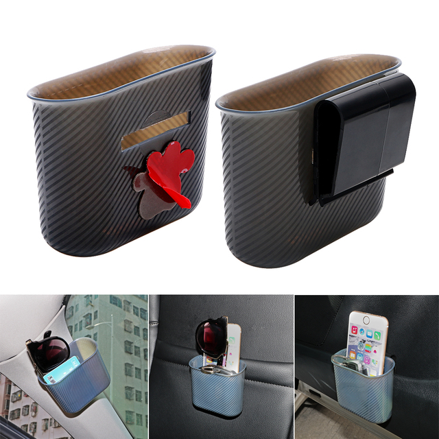 Car Storage Box Organizer Phone holder Multifunction Garbage Mesh Card Phone Charger Cradle Door Side Hanging Pocket Trash Bin