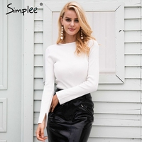 Simplee White Knitted Pullover Sweater Women Sexy Elastic Long Sleeve Knitting Pullover Casual Autumn Winter Jumper
