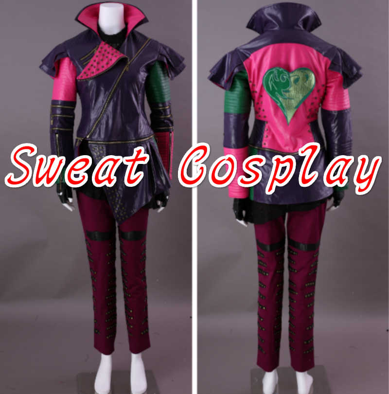 High Quality Descendants Maleficent Daughter Mal Costume Adult Women  Jackets +Pants+Gloves Halloween Cosplay Costume