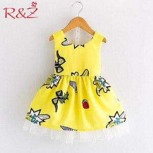 R & Z Vestiti per Bambina 2019 Nuova Estate Ha Stampato Giallo Del Fumetto Ritaglio Arco Del Nastro Della Maglia Vestiti Della Maglia per I Bambini Per Bambini abbigliamento(China)