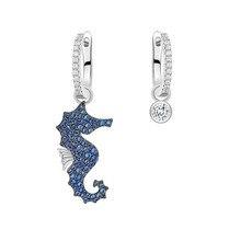 SLJELY nowy prawdziwe 925 Sterling Silver asymetryczny niebieski konik morski AB kolczyki Micro Cubic cyrkonie kobiety moda Party biżuteria