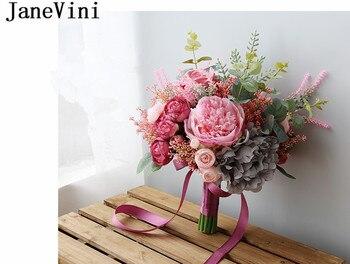 Fiori Artificiali Gialli | JaneVini Vintage Rosa Fiore Bouquet Da Sposa Artificiale Del Fiore Del Peony Da Sposa Azienda Bouquet Di Fiori Holder Giallo Rosa Sposa Bouquet