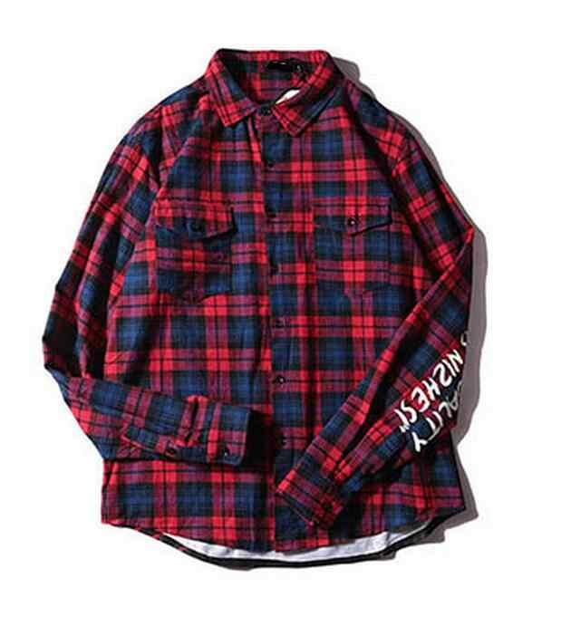 4963d62e06e ... Long Hip Hop Plaid Shirts Mens Shark Print Long Sleeve Dress Jacket  Shirt Blue Checkered Casual ...