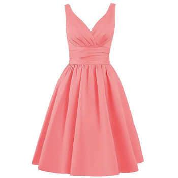 Walk Beside You Green Bridesmaid Dresses Purple Short A-line V-neck Satin Elegant Dress Robe Demoiselle D\'honneur Pour Femme