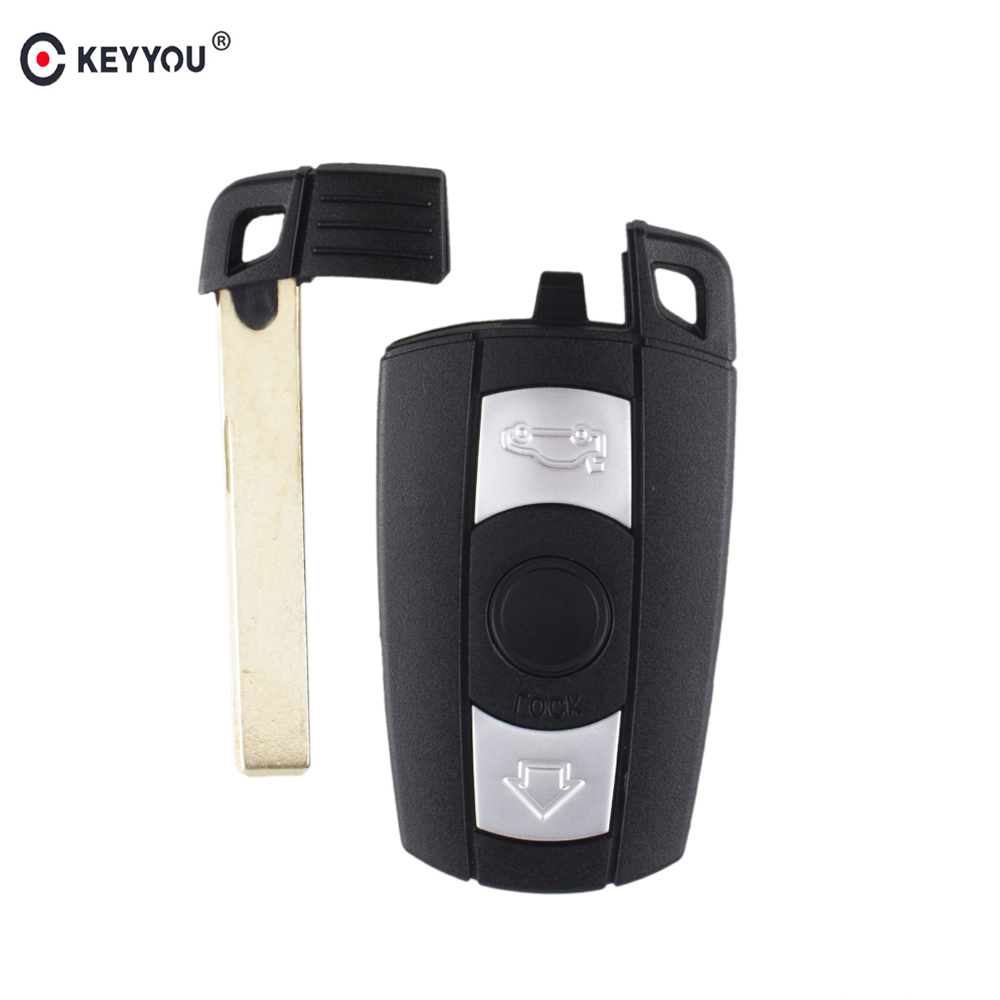 KEYYOU 3 Button Remote Car Key Case Cover For BMW 1 3 5 6 Series Smart Car Key Shell Blade Fob E90 E91 E92 E60 With Key Blade