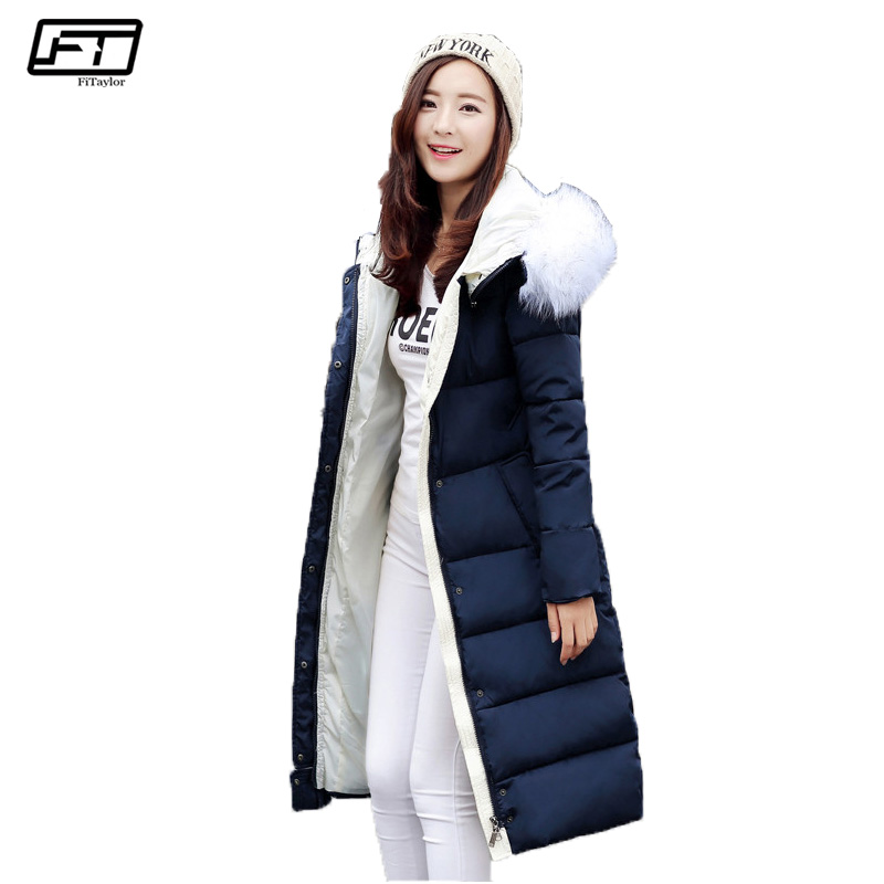 Fitaylor Big Fur Plus Size Winter Jacket Women 2017 Thick Long Parkas Mujer Warm Hooded Coat Female Fashion Cotton Overcoats fitaylor winter jacket women coats plus size thick cotton coat hooded parkas women winter coat warm long 3xl 4xl 5xl overcoat