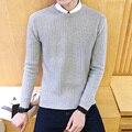 Homens Pullover camisola 2016 Masculina Marca Casual Blusas Finas Homens cor Sólida O-pescoço Camisola Dos Homens 5XL