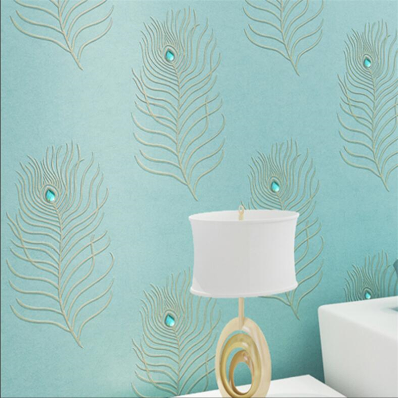 beibehang embroidery wallpaper European 3D diamond non-woven peacock blue feather bedroom living room TV background недорого