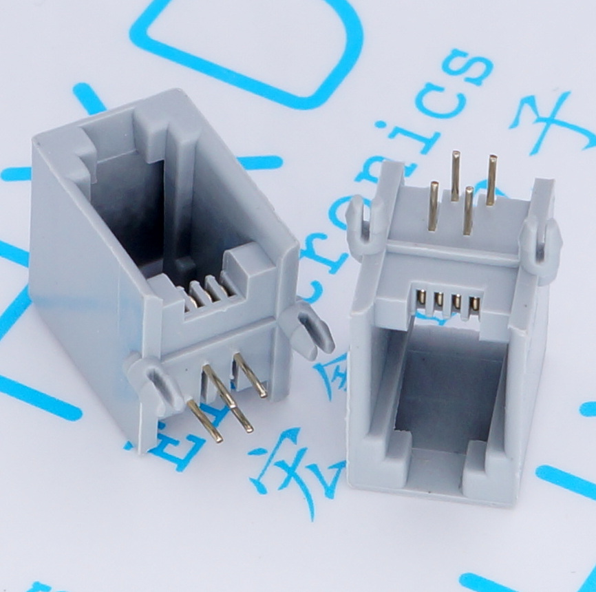 100pcs RJ11 4P4C Female PCB Mount Modular Plug/Jack Network Connector 4P Grey 24 pcs rj45 modular network pcb jack 56 8p w led 4 ports