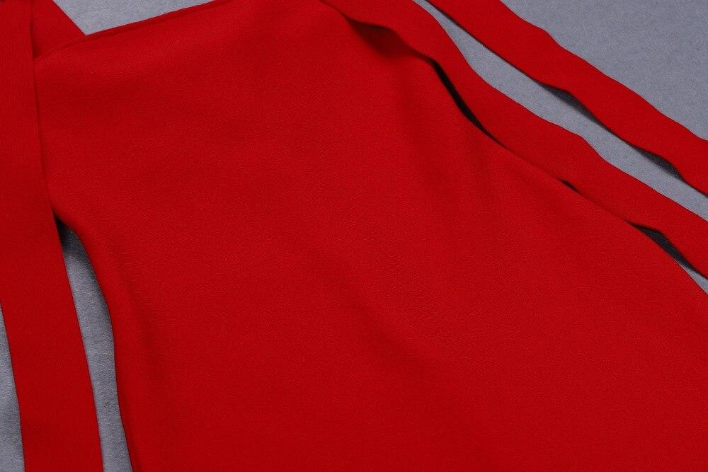 Top qualité Sexy femmes robe rouge débardeur dentelle Ups moulante élégante robe Stretch retour robe de soirée bourgeon - 5