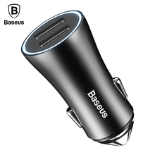 Baseus Car USB Charger For Phone Car-Charger LED 2 USB Car Charger Adapter For Samsung iPhone iPad Tablet PC Car Battery Charger cheap 5V 2 4A 5V 2A CCALL-DZ RoHS Universal Car Lighter Slot Dual USB Ports Car Charger ABS + Aluminum alloy 2 Usb Connector Black Silver Red Coffee