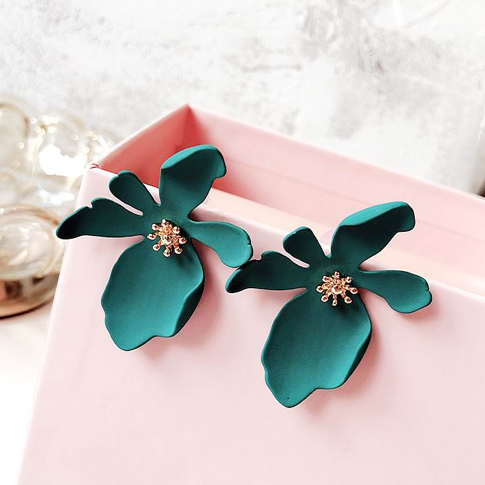 MENGJIQIAO 2018 New Korean Exaggerate Big Flower Stud Earrings For Women Summer Fashion Accessories Elegant Boucle D'oreille
