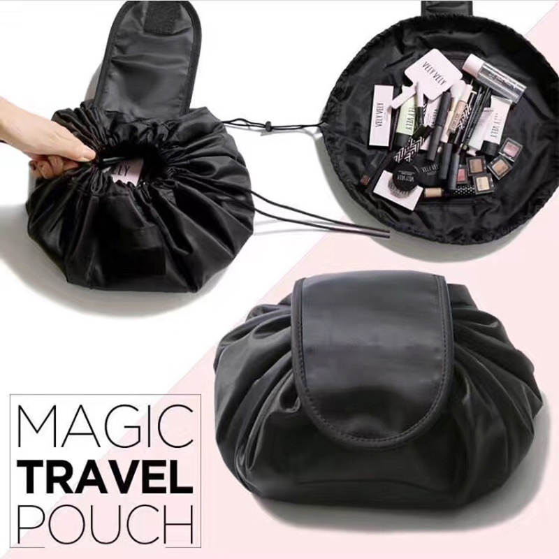 New Fashion round Shaped Travel Cosmetic Bag Make Up Bag Drawstring Bags Makeup Wash Organizer Storage
