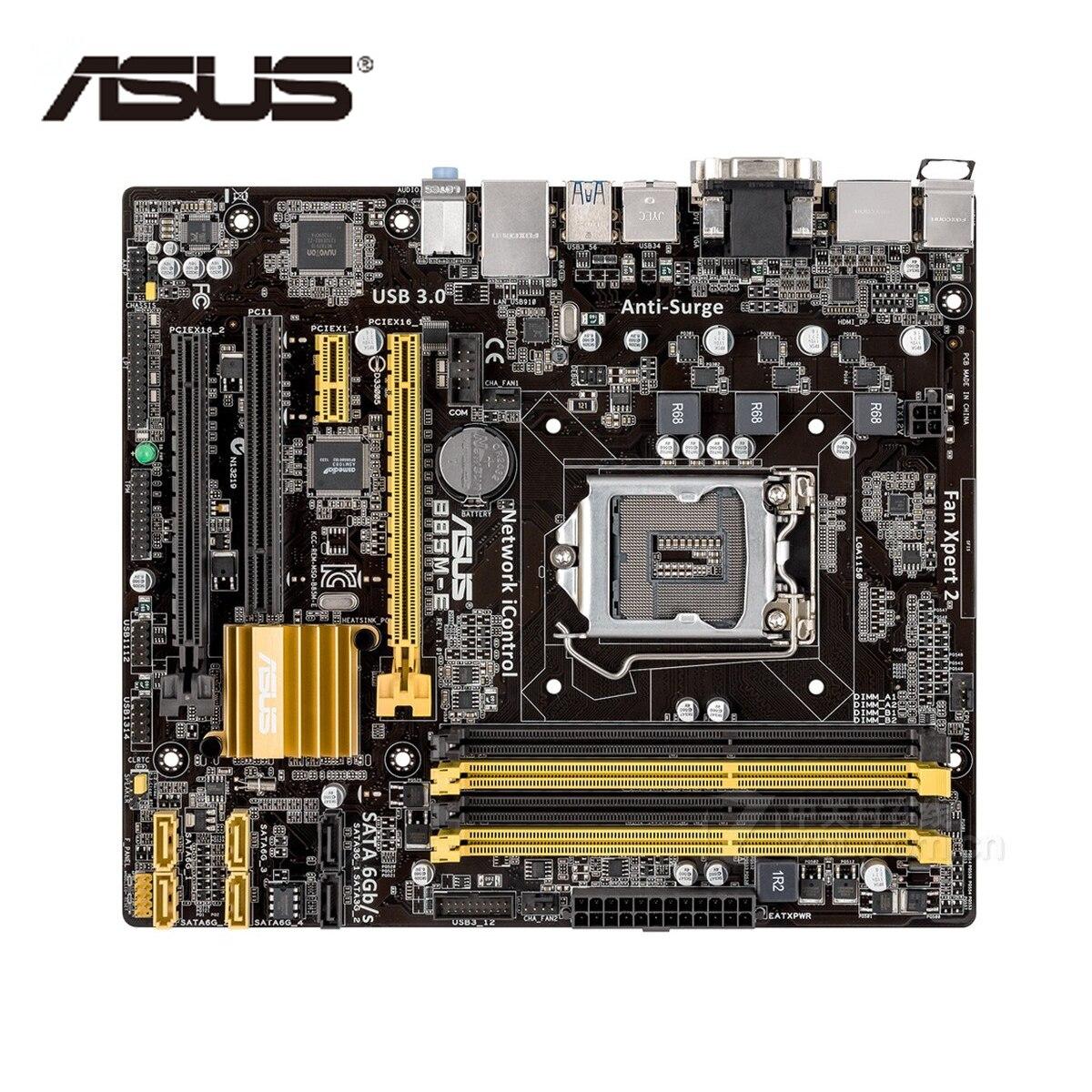 LGA 1150 ASUS Motherboard Micro ATX B85M-E B85M-E B85ME B85M DDR3 Para Intel Systemboard B85 32GB Mainboard do Desktop USB 3.0 Usado