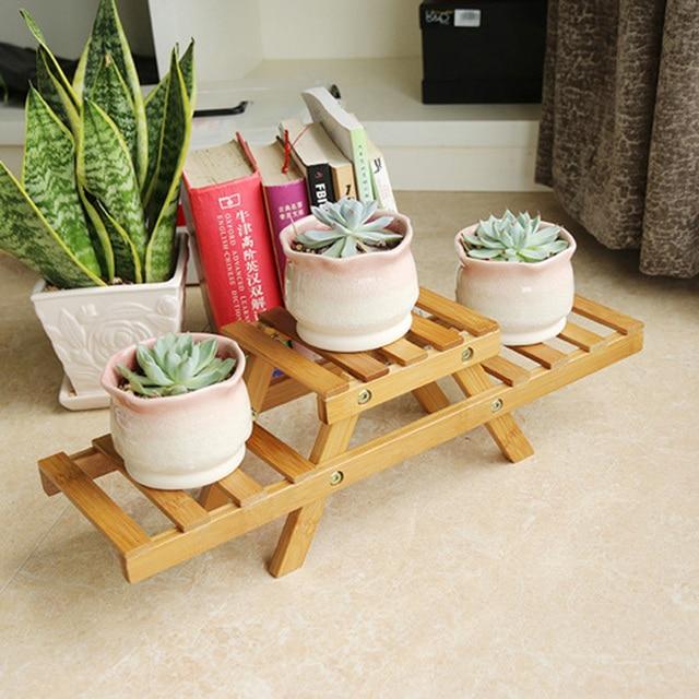 Fantastic Bamboo Small Flower Pot Trays Desktop Storage 2 Tier Rack Bathroom  KE63