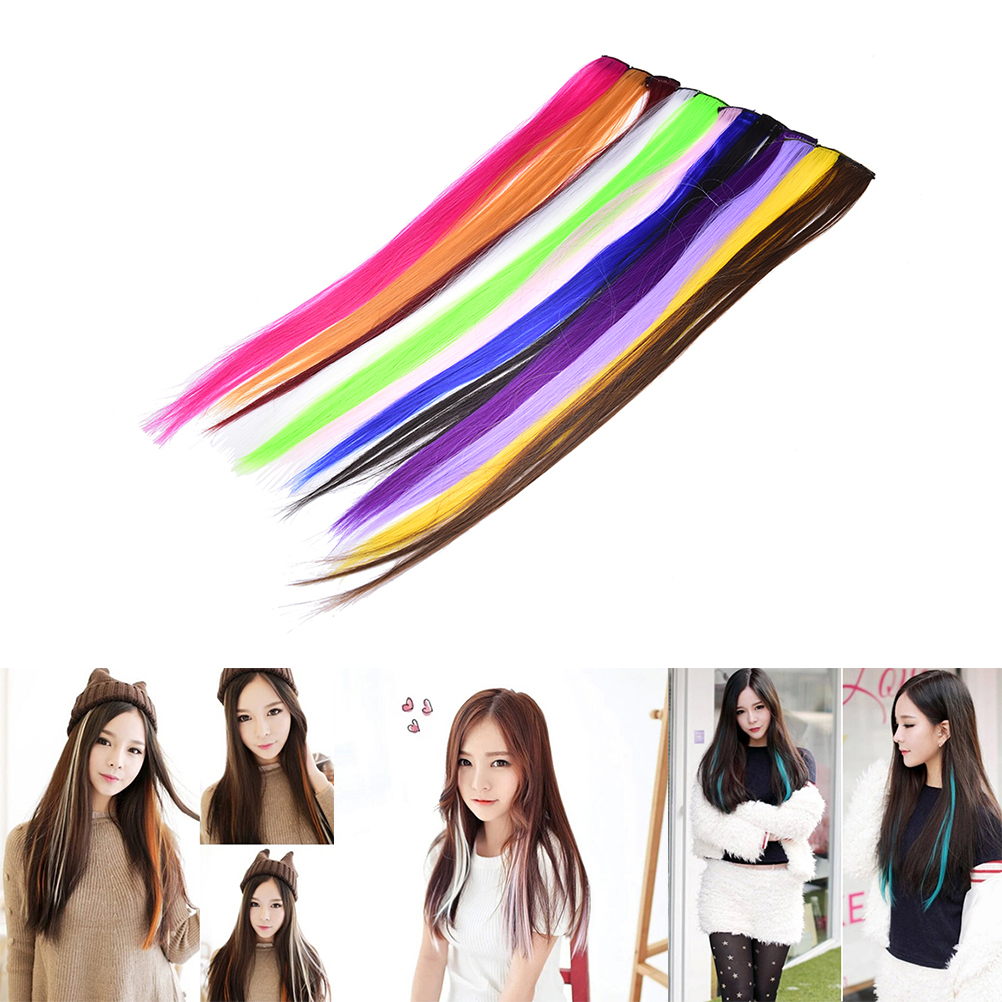 1pc Clip In Colored Hair Extensions for women clips decoration Synthetic Straight Long Hightlight color hairpiece